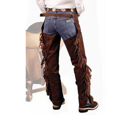 Chaps western in pelle scamosciata con frange e zip