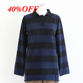 QUEENE AND BELLE WINTER 2020 HOOPED RUGBY SHIRT NAVY BLACK BLACK
