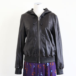 METEO by YVES SALOMON HOODIE JACKET LEATHER LAMB BLACK