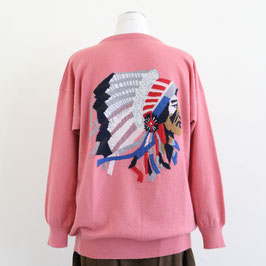 QUEENE AND BELLE AUTUMN WINTER 2019-20 ICONIC CHIEF SWEATER SAND ROSE MULTI