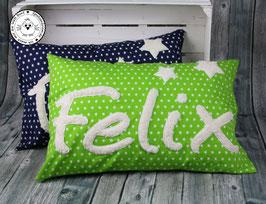 ❤️ Kissen 40x60 cm - apfelgrün Sterne - Modell 3