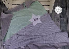 ❤️ Decke Sternenstoff mint mit Streifen grau - Modell 18