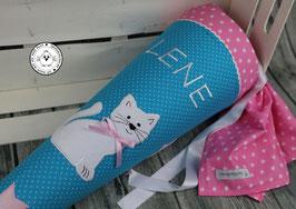 Schultüte Katze STERNE rosa -türkis/rosa - Modell 10