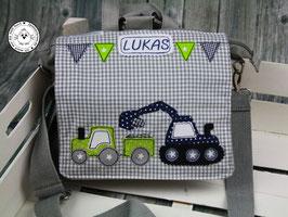 """Kindergartentasche/-rucksack """"Traktor mit Bagger"""""""