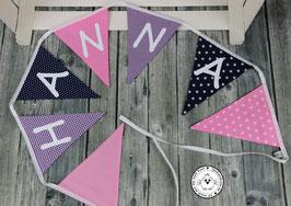 ❤️ Wimpelkette rosa-lila-dunkelblau