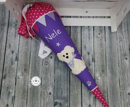 Schultüte Hund mit Wimpel und Glitzersterne und Pfoten- lila/pink - Modell 7