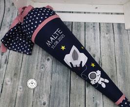 Schultüte Astronaut - dunkelblau/rot