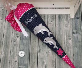 Schultüte 1 oder 2 Delfine - dunkelblau/pink - Modell 10A