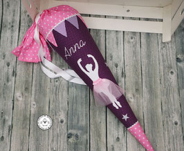 Schultüte Ballett mit Wimpeln - lila/rosa - Modell 11