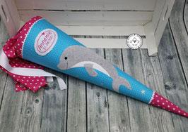 Delfin XL -Glitzersterne -türkis/pink - Modell 17