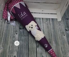 Schultüte Hund mit Wimpel und Pfoten - lila/MAUVE - Modell 5