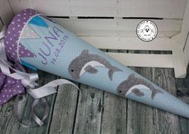 Schultüte 1 Delfin oder 2 Delfine mit Wimpel - blau/flieder/türkis- Modell 8