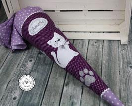 Schultüte Katze Pfötchen - lila/flieder/grau/weiß - Modell 3