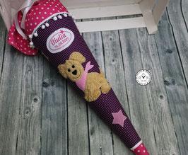 Schultüte Hund - lila/pink - Modell 1