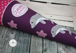 Schultüte 1 oder 2 Delfine - lila/pink - Modell 11