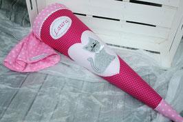 Schultüte Katze - fuchsia/rosa/grau - Modell 1