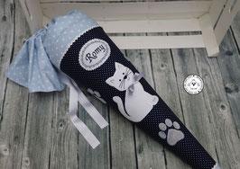 Schultüte Katze - dunkelblau/hellblau- Modell 17