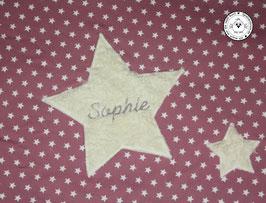 ❤️ Decke Sternenstoff altrosa mit 3 Sternen - Modell 10