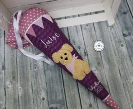 Schultüte Hund mit Wimpel und Sternen- lila/ALTROSA - Modell 6