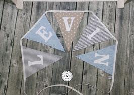 ❤️  Wimpelkette grau/hellblau/beige