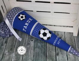 Schultüte Fußball Tor mit Ball - blau/grau