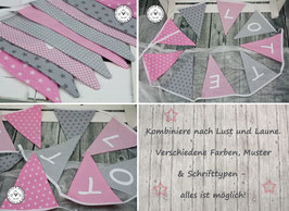 ❤️ Wimpelkette rosa-grau