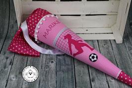 Schultüte Fußball Mädchen aus Stoff rosa/pink