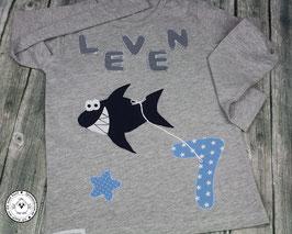 ❤️ Geburtstagsshirt Hai - Modell 1 Langarm
