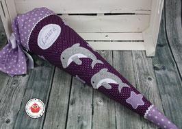 Schultüte 1 oder 2 Delfine - lila/flieder - Modell 12
