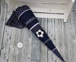 Schultüte Fußball Tor mit Ball - Sterne - dunkelblau