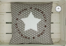 ❤️ Kissen 40x40 cm - Familienkissen Sterne taupe - Modell 8