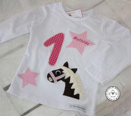 ❤️  Geburtstagsshirt Pferd - fuchsia/rosa - Modell 1 Langarm
