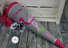 Schultüte Flamingo - Modell 5 - grau/pink - Blume
