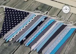 ❤️ Wimpelkette dunkelblau-hellblau-grau-tükis