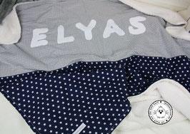 ❤️ Decke Sterne dunkelblau & Vichy grau- Modell 15