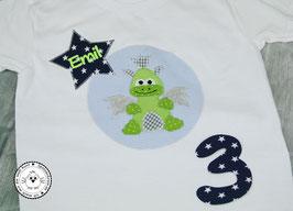 ❤️  Geburtstagsshirt Drache - blau/grün - Modell 2 Langarm
