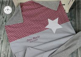 ❤️ Decke Sternenstoff altrosa Sterne mit Streifen grau - Modell 15