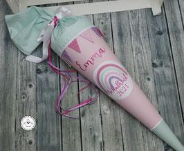 Schultüte Regenbogen - rosa/mint - Modell 1