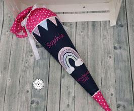 Schultüte Regenbogen mit Wimpel - dunkelblau/pink - Modell 9