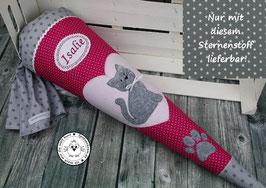 Schultüte Katze - fuchsia/rosa/grau - Modell 2