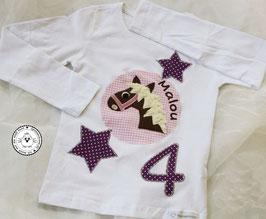 ❤️  Geburtstagsshirt Pferd - lila/rosa - Modell 3 Langarm