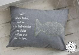 ❤️ Kissen Fisch 30x40 cm anthrazit Karo 1mm - Modell 1