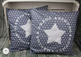 ❤️ Kissen 40x40 cm - Familienkissen Sterne grau -  Modell 7