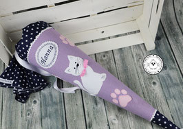 Schultüte Katze Pfötchen - lila/dunkelblau/rosa - Modell 8