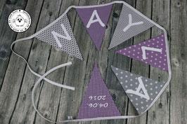 ❤️ Wimpelkette lila-grau