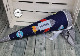 Schultüte Rakete - blau/grau - Name auf Rakete - Modell 4A