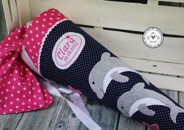 Schultüte 1 oder 2 Delfine - dunkelblau/pink - Modell 10