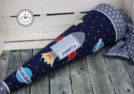 Schultüte Rakete - blau/grau - Modell 4