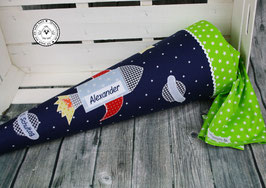 Schultüte Rakete - blau/grün - Modell 3