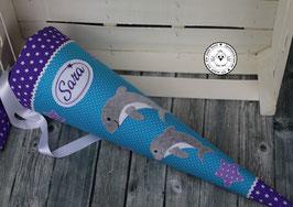 Schultüte 1 Delfin oder 2 Delfine - türkis/lila - Modell 6